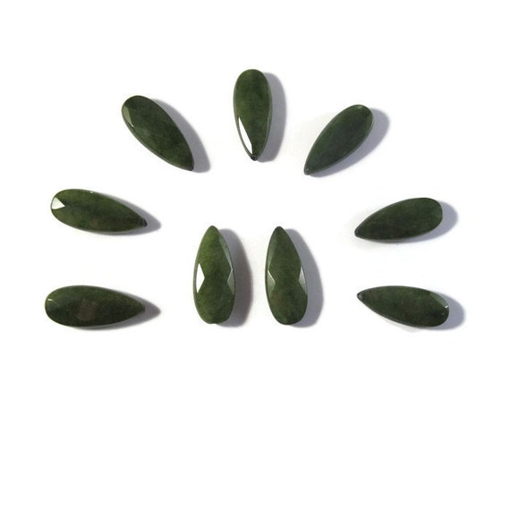 Forest Green Jade Beads, Matched Pair of Dyed Jade Long Drilled Drops, Briolettes, Two Stones, 24mm x 10mm (PT-Ja4)