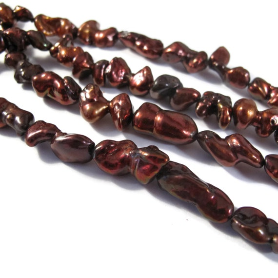 Dark Red / Brown Pearl Beads, 16 Inch Strand of Nugget Pearls, 17mm x 9mm, 30 Pearls Per Strand, Jewelry Supplies (P-N4)