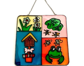 Vintage frog stained glass sun catcher ironed flowers window hanging 1970s