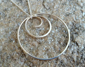 Silver Circle Pendant Necklace - Sterling Silver - Pendant Necklace - Silver Hoop