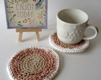 Everyday round Coasters, Set of 2, Office Coasters, Crochet Coasters, Small Housewarming Gift - Crochet Home Decor