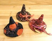 Witch Hat in Red Orange and Black Halloween Ornament Bowl Fillers