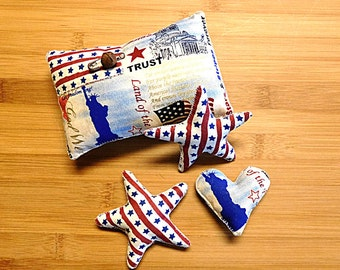 Primitive July Fouth  Patriotic Americana Pillow Star Bowl Filler Decorations