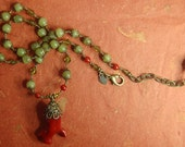 Hand knotted green jade, red coral and solid brass beaded pendant necklace
