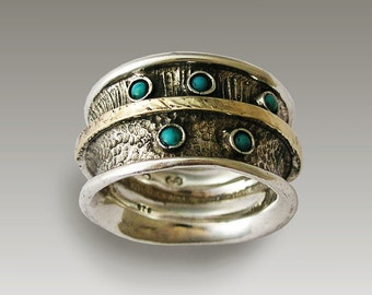 Mixed metal band, Sterling silver band, silver and gold band, mixed metal ring, turquoise ring, wide ring, gemstone ring - On our way R1711G