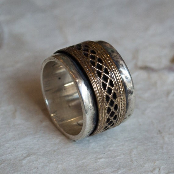 Sterling silver band, spinner ring, silver and gold filled ring, gold spinner,  wide ring, two tones ring, silver gold ring - Blink R2068