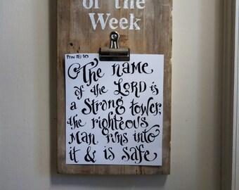 Verse of the Week Clip Board - Vintage Reclaimed Wood - Scripture Memory - Coloring page - homeschool