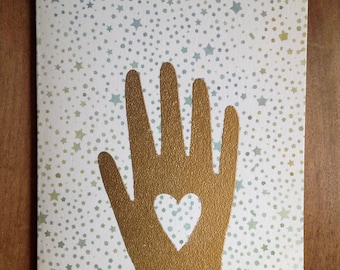 watercolor stars gold hand card stamped and embossed blank heart
