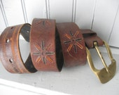 Vintage Brown Hippie Belt with Heavy Brass Buckle and Tooled Motif in Black & Burnt Orange