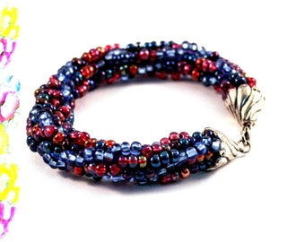 Bangle Bracelet Blue Red Bead Turkish  Crochet OOAK Statement Bracelet