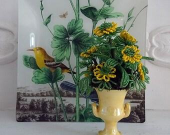 yellow - vintage beaded flower arrangement - NO389
