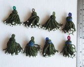 CLEARANCE 8 Ethnic Tassels, Olive Green with White Beads