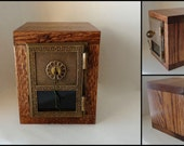 Mission Oak Safe with Antique YALE Bronze Post Office Door Bank Salvaged Wood Keyed Lockbox USPS Groomsman Wedding Guy Manly 8th Anniversary