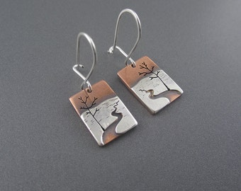Handmade Mini Chocolay River Mixed Metal Sterling Silver & Copper Earrings