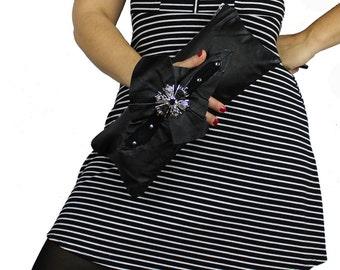Silver Starburst Black Leather Large Wrist Clutch