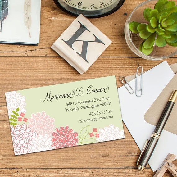 Spring Blossoms Calling Card, Business Cards, Set of 50 cards, Set of 100 Cards, Vintage Calling Cards, Floral Calling Cards, Elegant Cards