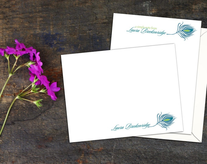 Peacock Feather Personalized Flat Note Card, Set of Ten A2 Flat Note Cards, Custom Note Cards, Fun Personal Stationery, Simple Elegant Cards