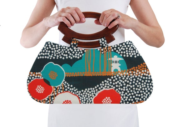 Japanese top handle bag, Minimalist bag, Modern handbag, Floral handbag, Casual bag, Trendy bag, Handmade fabric purse, Handbag with handle