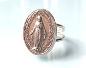Blessed Virgin Mary Ring - Sterling Silver Setting - Mary Mother of God Medal - Our Lady Religious Miraculous Medal Ring