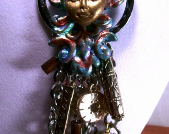 Polymer Clay Fantasy Sun God Trendy Fairy Bold Charm Necklace Novelty Jewelry Original OOAK Upcycled