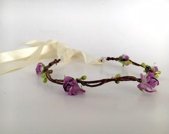 Purple Rose Baby crown - Newborn crown - purple flowergirl flower crown - baby crown - gift for baby - newborn photo shoot prop