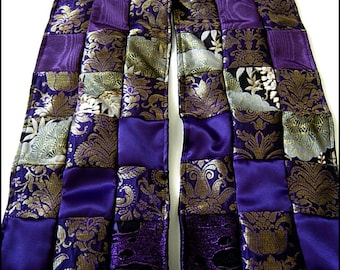 Purple Nocturne Patchwork Shawl Scarf or Table Runner - One of a Kind by Kambriel - Made From 163 Fabric Pieces Brand New & Ready to Ship!