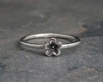 Cherry Blossom Stacking Ring, Sterling Silver Flower Stackable Ring, Floral Bloom Spring Garden Jewelry, Single Minimalist Midi Stack Ring
