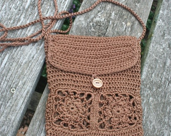 Small crochet bag hippie purse pouch long strap lined