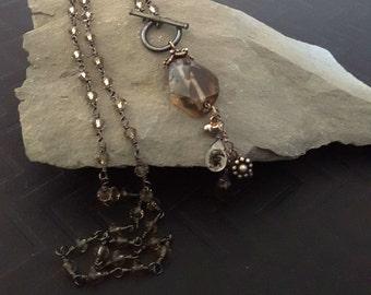 Boho Smoky Quartz Beaded Necklace, Long Pendant Necklace, Tassel Jewelry, Stone Charm Chain Tassel, Silver Brown, Earthy Earth Tone OOAK