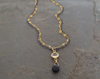 Black Gold Crystal Necklace, Gold Black Chain Necklace, Mixed Metal, Oxidized Silver Gold Filled, Black Onyx, Crystal Link, Crystal Bezel