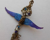 Large Winged Clockwork Key Pendant -- Steampunk Purple-Blue Inked Feathered Winged Key, Brass Gears, Swarovski Crystals (A Key to Time)