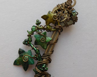 Ivy Vine Steampunk Key Pendant -- Green Ivy Leaves, Gears, Green Swarovski Crystals, Wire Wrapped Clockwork Key, Antique Brass Wire