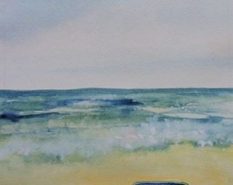 Beach Painting-Seashore Painting-Watercolor Painting of Children's Sand Bucket on the Beach-Easter Gift