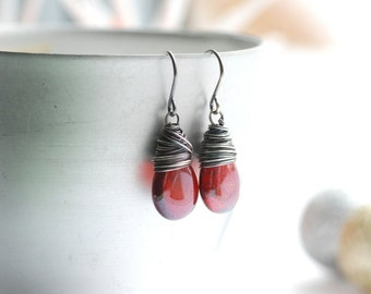 Metallic Red Earrings, Hyacinth Bronze Vega Earrings, Christmas Earrings, Holiday Jewelry, Party Earrings, Metallic Earrings
