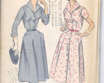 Vintage 50s Button Up Shirwaist Dress Pattern- Advance 7968- Bust 36 Size 16.5