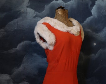 Vintage 1930s Old Hollywood Pumpkin Rayon Bias Cut Gown with Fur trim - Size Medium