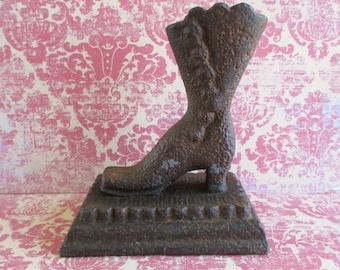Vintage Cast Iron Ladies Boot Match Safe