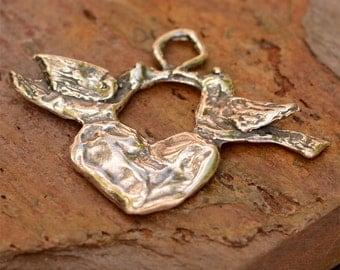Love Birds Heart Pendant in Sterling Silver