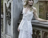 Hand Made One of a Kind Tiered Lace Gown