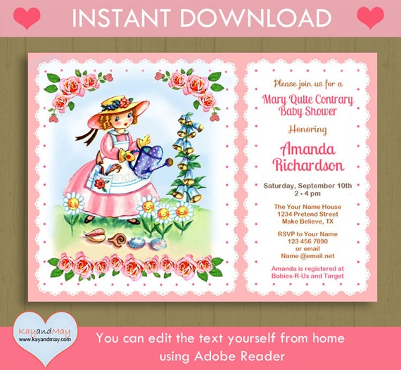 Items Similar To 1947 Birthday Trivia Game: Items Similar To Mary Quite Contrary Baby Shower Or