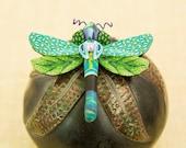 Dragonfly brooch. Turquoise green dragonfly brooch. Colorful dragonfly. Polymer clay. Dragonfly jewelry. Swarovski crystal dragonfly.