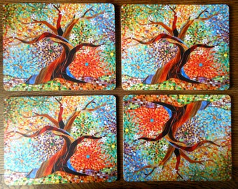SET OF 4 Tree of Life Placemats - Mosaic Art - Multicoloured Mosaic Tree - Unique Tablemats