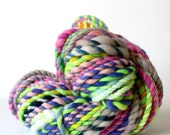 yarn, wool yarn, handspun yarn, hand spun yarn, rainbow yarn, 2ply candy cane yarn, bulky wool yarn, hand dyed yarn .. techno dust