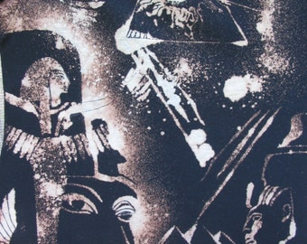 Ancient Egypt Bleach Dyed Visions with All Seeing Eye and Pyramids at Giza Stars Black Tie Dye size XS