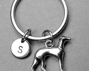 Greyhound keychain, greyhound dog charm, dog keychain, personalized keychain, initial keychain, initial charm, customized keychain, monogram