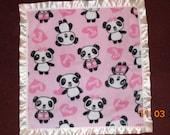 Cute Panda Bear Love throw blanket toddler quilt REVERSIBLE  animal