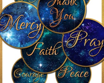 Digital Download 3 Inch Circle Tags Magnets Inspirational Love Hope Faith Thank You Pray for Commercial Use Collage Sheet No. 57