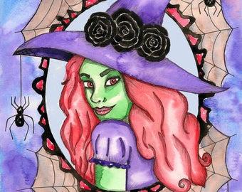 Witch Original Watercolor Painting Halloween Art Samhain Art Fantasy Painting Pagan Art Gothic Art Horror Art Halloween Decor Witch Art