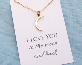 Boho Moon Necklace | Half Moon Necklace, Crescent Moon Dainty Necklace, Wife Birthday, Wives Gift, Dainty Necklace | Silver or Gold | L02