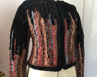 Estelle Gracer Ribbon Crochet Sweater 1990's Chenille Rainbow OOAK Rag Sweater Earthy Forest Tones Small